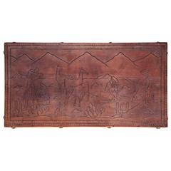 Peruvian Tooled Leather Bench or Coffee Table with South American Landscape