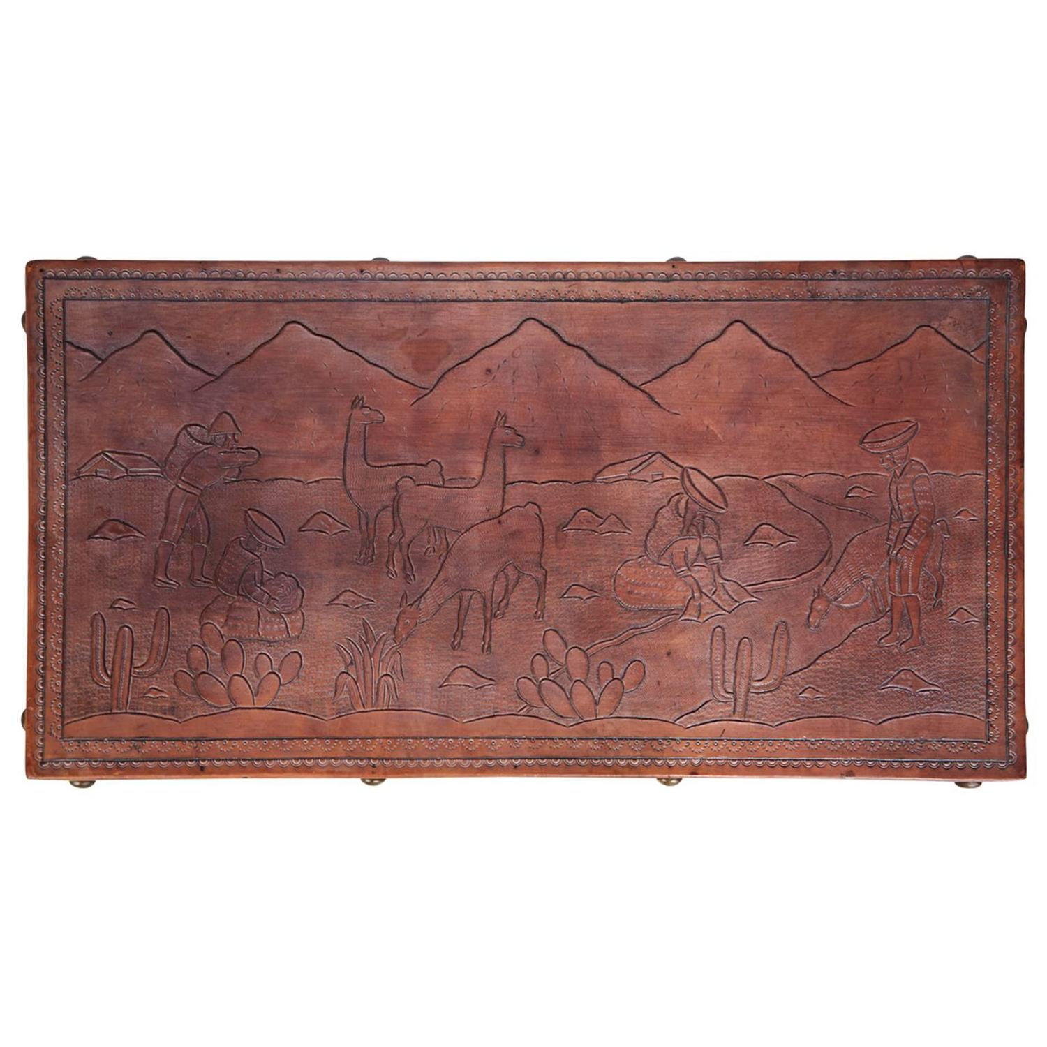 Peruvian Tooled Leather Bench or Coffee Table with South American Landscape 4e2d92d2e8