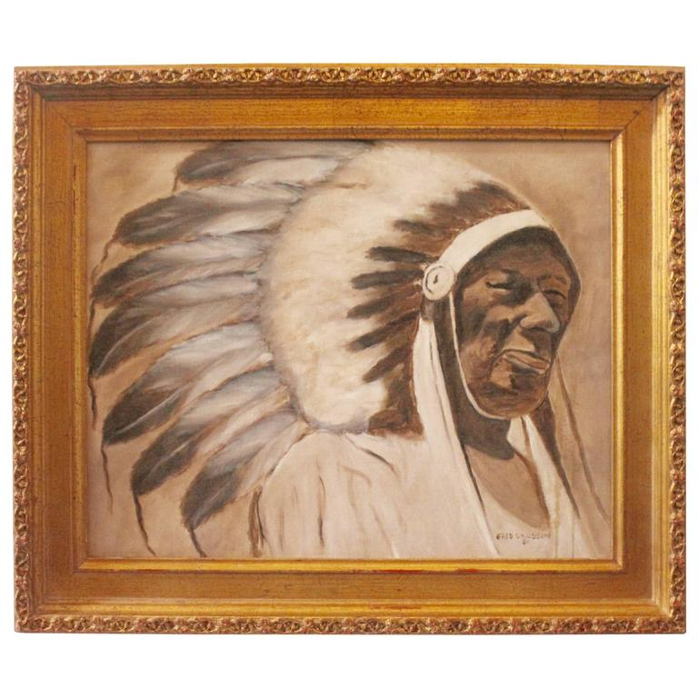Signed Fred Crosson Indian Chief Oil Painting For Sale