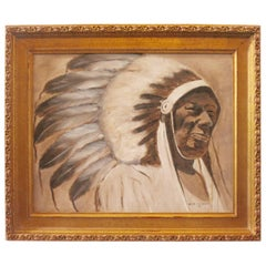 Signed Fred Crosson Indian Chief Oil Painting