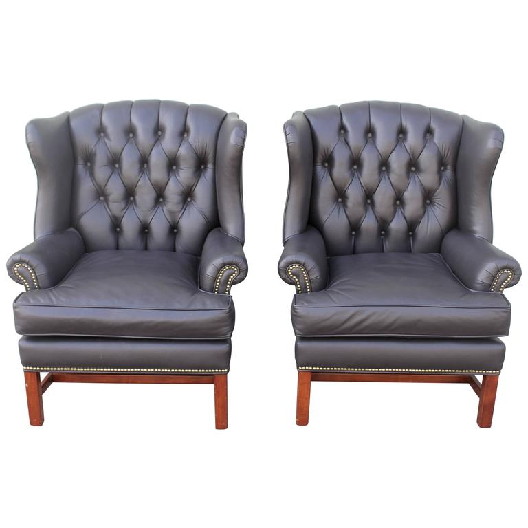 Pair of Mid-Century Dark Chocolate Leather Wing Chair 1