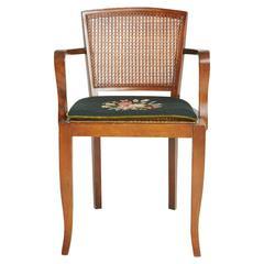 Art Deco Caned Arm Chair with Needlepoint Cushion, circa 1930