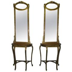 Pair of Italian Carved Giltwood Consoles and Mirrors, 19th Century