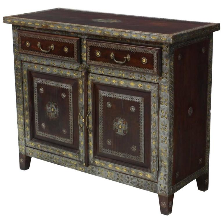 spanish colonial style brass and pewter mounted cabinet. Black Bedroom Furniture Sets. Home Design Ideas