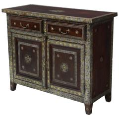 Spanish Colonial Style Brass and Pewter Mounted Cabinet