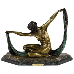 "After Claire Colinet ""Isis"" Bronze Sculpture"