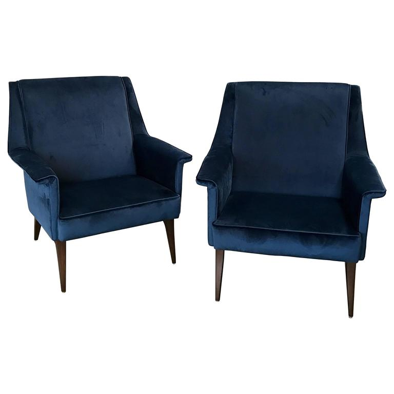 Italian 1960s Blue Armchairs by Anonima Castelli For Sale
