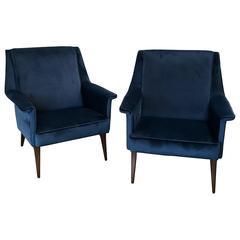 Italian 1960s Blue Armchairs by Anonima Castelli