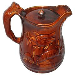 Rare 19th Century Rockingham Lided Water Pitcher