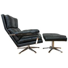 Vintage Swedish Leather Lounge Chair and Ottoman