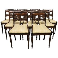 Set of Nine Antique Chairs in the Style of Late Empire, 1840s