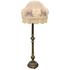 Antique Floor Lamp in Gilded Wood with Original Shade, 1920s