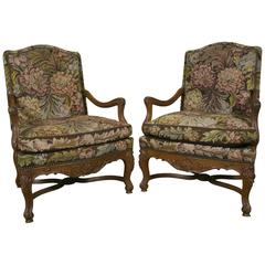 Pair of 19th Century French Regence Style Armchairs Needlepoint Flowers Tapestry
