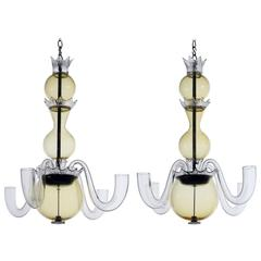 Pair of Handblown Glass Chandeliers by Gio Ponti for Venini