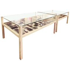 Pair of Coffee Tables with Murano Glass Vitrals