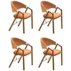 Four Chairs in Ligth Walnut. Designed by J. Tresserra, 1987
