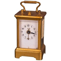 19th Century Old Brass Travel Clock, Alarm Clock