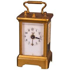 19th Century Old Brass Travel Clock, Alarm Clock