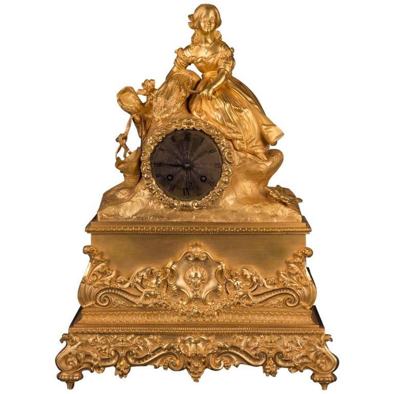 19th Century Empire Bronze Fire-Gilded Pendule