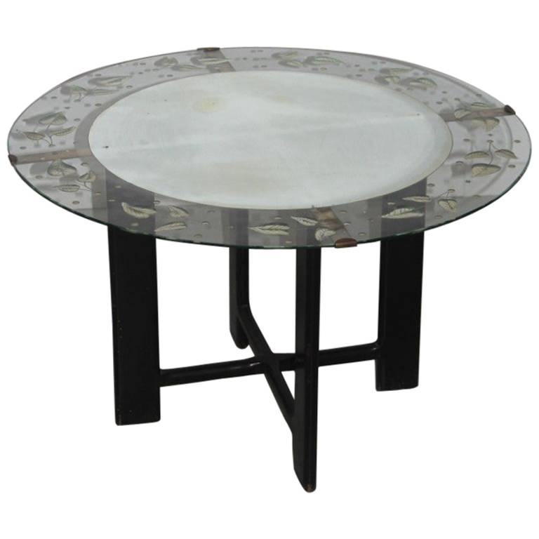 Rare cristal art table coffee midcentury italian design - Coffee table italian design ...