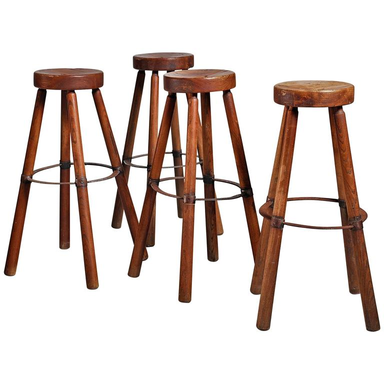 Set of Four Wooden Stools with Metal, France, 1950s