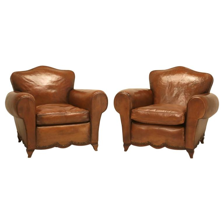 French Leather Club Chairs from the 1930s For Sale