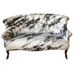 19th Century French Settee with Custom Marble Upholstery