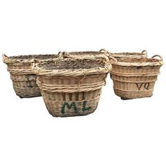 Antique French Estate Grape Harvesting Baskets