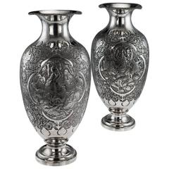 Antique 20th Century Persian Solid Silver Massive Pair of Vases, Isfahan, 1920