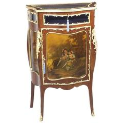 19th Century French Vernis Martin Serpentine Bijouterie Side Cabinet