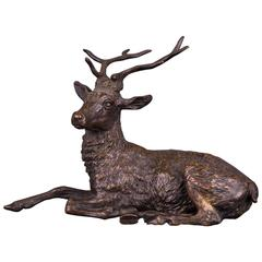 19th Century Antique Bronze Sculpture as a Sitting Stag