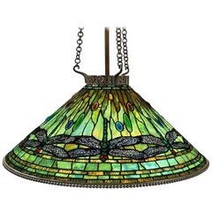 "Tiffany Studios New York Glass and Bronze ""Dragonfly"" Chandelier"
