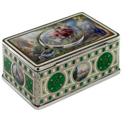 Antique 19th Century Stunning Solid Silver & Hand-Painted Enamel Jewellery Box