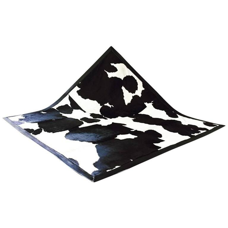 One of a Kind Black and White Cowhide Area Rug