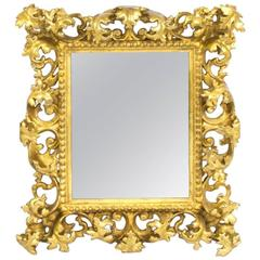 Antique Italian Florentine Giltwood Mirror, Late 17th-Early 18th Century