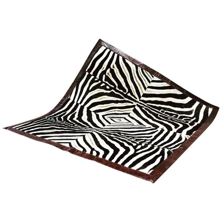 One of a Kind Zebra Hide Area Rug