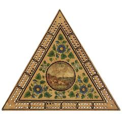 Georgian Triangular Painted Cribbage Board, circa 1800