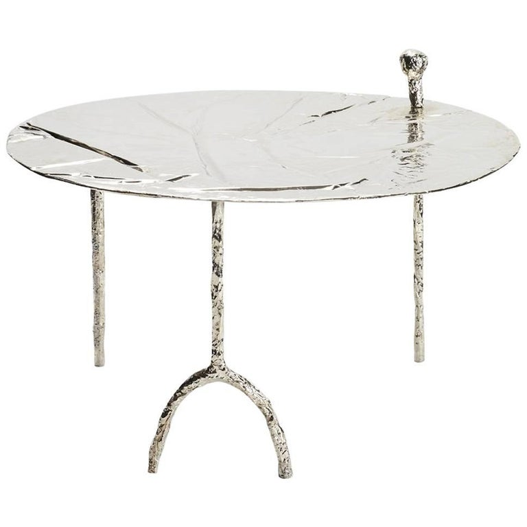 """Misha Kahn """"Coffee Table"""", Nickel Plated Bronze, Silver, 2015 For Sale"""
