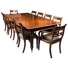 Antique Regency Gillows Dining Table Ten Regency Chairs