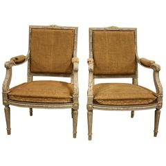 Pair of Painted 19th Century Louis XVI Fauteuils