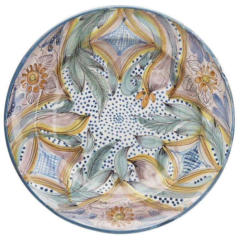 Antique Continental Polychrome Tin Glazed Dish, 18th Century For Sale