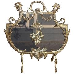 French Brass Rooster and Foliage Fire Screen, Circa 1830