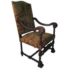 19th Century Walnut French Throne Chair