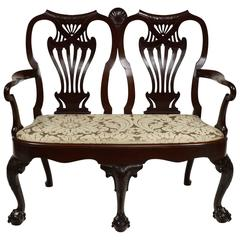 Irish Georgian Double Chair-Back Chippendale Settee