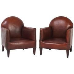 Pair of French Art Deco Childs Club Chairs
