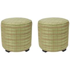 Pair of Modern Green Moroccan Style Stools