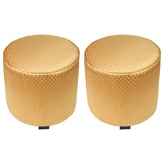 Pair of Modern Round Gold Upholstered Moroccan Poufs