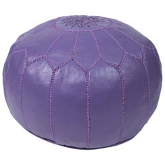 Hand-Tooled Moroccan Lavender Color Leather Pouf