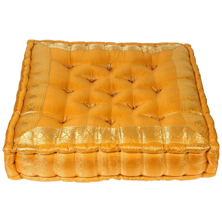 Moroccan Oversized Yellow and Gold Tufted Floor Pillow Cushion
