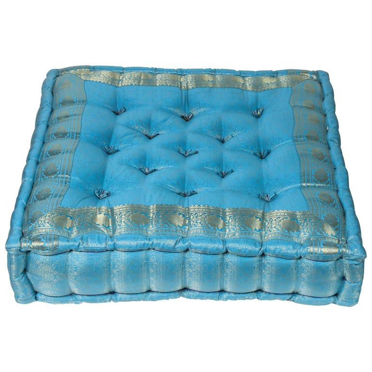 Moroccan Oversized Turquoise Tufted Floor Pillow Cushion For Sale at ...